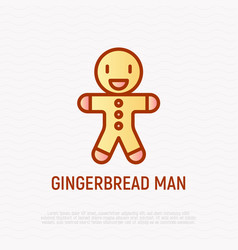 gingerbread cookie thin line icon vector image
