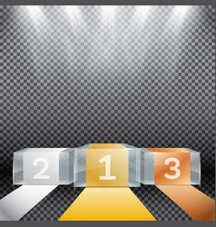 glass winner podium with spotlights on vector image