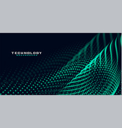 Green particle mesh wave technology background vector