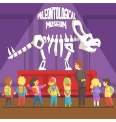 Groop Of School Kids In Paleontology Museum Next vector