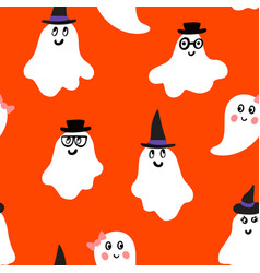 Halloween pattern with happy ghosts vector