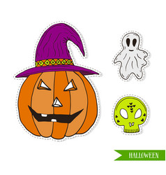 halloween set with jack-o-lantern pumpkin ghost vector image