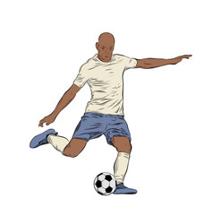 hand drawn sketch footballer in color isolated vector image