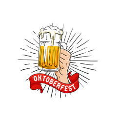 hand holding full glass of beer with ribbon vector image