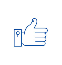 hand with thumb up line icon concept hand with vector image