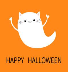 Happy halloween flying cat kitten ghost spirit vector