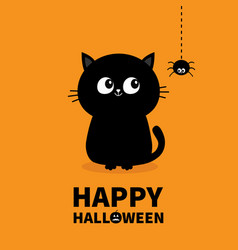 Happy halloween pumpkin text black cat sitting vector