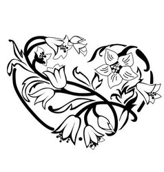 Heart of flowers vector image