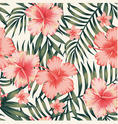 Hibiscus pink palm leaves dark green pattern vector