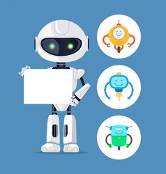 holding a paper sheet humanoid robot color card vector image