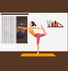 home yoga pilates girl exercising on yoga mat vector image