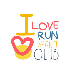 I love run sport logo symbol colorful hand drawn vector