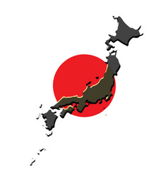 japan map with the japanese flag vector image