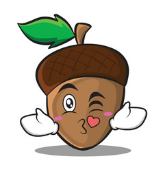 Kissing heart acorn cartoon character style vector