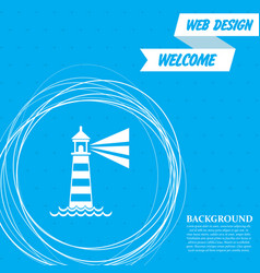 lighthouse icon on a blue background with vector image