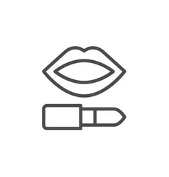 Lips makeup pomade line outline icon vector