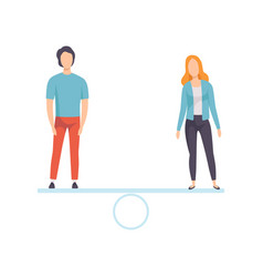 Man and woman standing on scales equal rights of vector