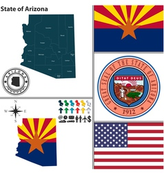 Map of Arizona with seal vector