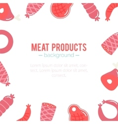 meat products background Sausages and ham vector image