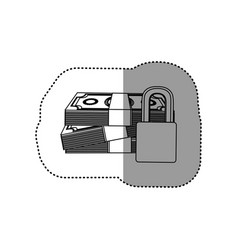 Monochrome contour sticker of stacked bills with vector