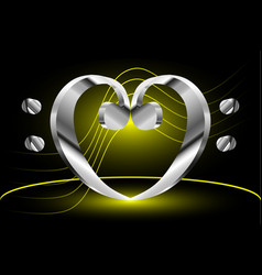 Music note stave and heart bass clef vector