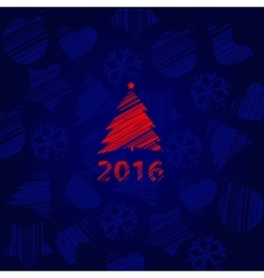 New year card with tree on a blue background vector image