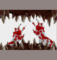 open monster mouth with sharp teeth vector image
