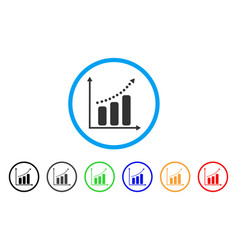 positive trend rounded icon vector image