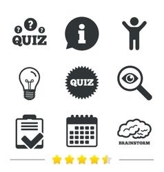 Quiz icons Checklist and brainstorm symbols vector