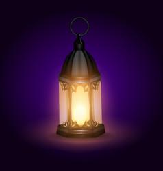 Ramadan kareem arabic lantern vector