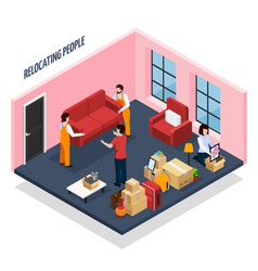 Relocating people isometric composition vector