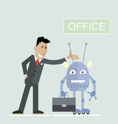 robot office businessman vector image