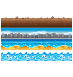 seamless background with water and city scene vector image