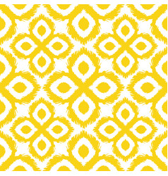 Seamless ikat pattern in yellow and grey colors vector