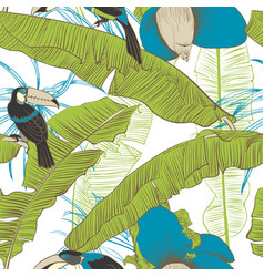 seamless tropical pattern with banana palms vector image