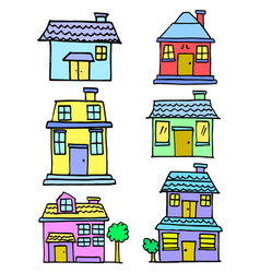 Set of house style colorful collection vector