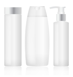 Set of plastic bottles Cosmetic packaging vector image