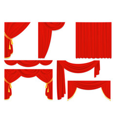 Set of red silk curtains vector