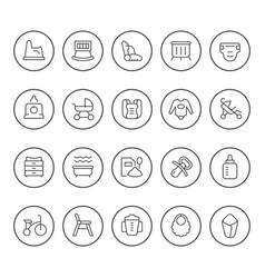Set round line icons bagoods vector
