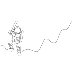 single continuous line drawing astronaut vector image