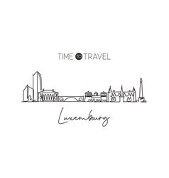 single continuous line drawing luxembourg city vector image