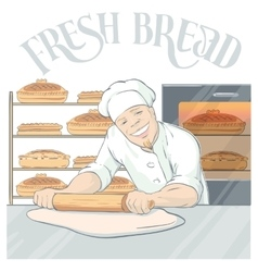 Smiling baker rolling pastry vector
