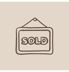 Sold placard sketch icon vector image