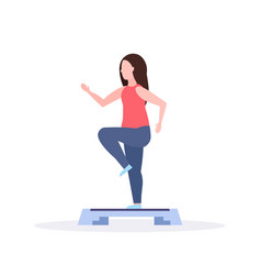 Sports woman doing squats on step platform girl vector