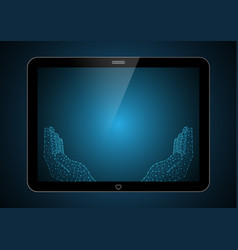 technology future polygon holding hand tablet vector image