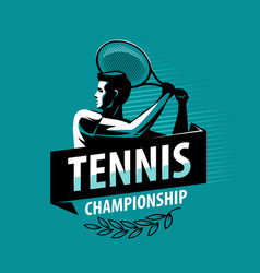 tennis championship logo or label sport concept vector image