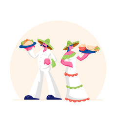 traditional mexican food concept man and woman vector image