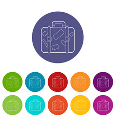 travel suitcase with stickers icons set vector image