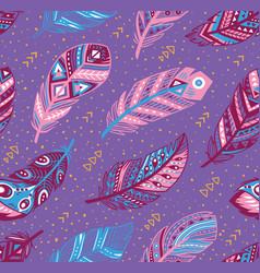 Tribal feathers pattern in blue pink and purple vector