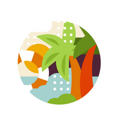 tropical landscape with palms and lifebuoy in logo vector image
